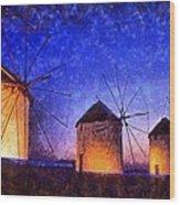 Windmills In Mykonos Island Wood Print