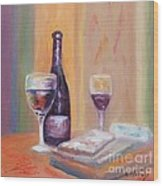 Wine And Blue Cheese Wood Print