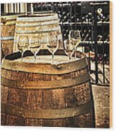 Wine  Glasses And Barrels Wood Print