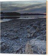 Winter Sunset On The Lake Wood Print