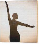 Woman Dancing At Sunrise Wood Print