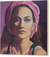 Woman In A Pink Turban Wood Print
