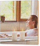 Woman Taking Bath Wood Print