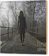 Woman Walking On A Bridge Wood Print