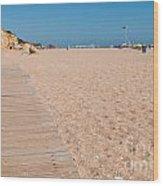 Wooden Walkway On Beach Wood Print