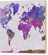 World Map In Watercolor  Wood Print