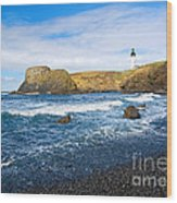 Yaquina Lighthouse On Top Of Rocky Beach Wood Print