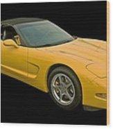 Yellow Corvette 2 Wood Print
