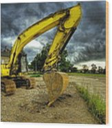 Yellow Excavator Wood Print