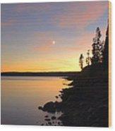 Yellowstone Lake Sunset Wood Print