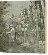 Young Boy In The Hollyhocks Wood Print