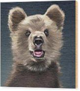 Young Brown Bear Wood Print