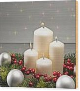 Advent Wreath Wood Print