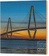 Arthur Ravenel Jr. Bridge At Sunset Wood Print