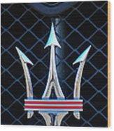 2005 Maserati Gt Coupe Corsa Emblem Wood Print