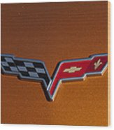 2007 Chevrolet Corvette Indy Pace Car Emblem Wood Print