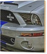 2008 Ford Mustang Shelby Grill Headlight Wood Print