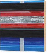 2011 Dodge Challenger Rt Hemi Taillight Emblem Wood Print