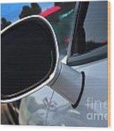 2012 Dodge Challenger White Rear View Mirror - 6023 Wood Print