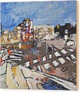 2013 015 Crosswalk Silver Orange And Blue Arlington Virginia Wood Print