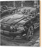 2013 Ford Shelby Mustang Gt 5.0 Convertible Bw  Wood Print