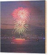 2014 4th Of July Firework Celebration.  Wood Print