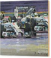 2014 F1 Mercedes Amg Petronas  Lewis Hamilton Vs Nico Rosberg Wood Print