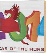 2014 Horse Leaping Over Numerals Isolated Wood Print