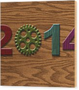 2014 Wooden Gear On Wood Grain Texture Background Wood Print