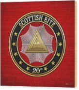 20th Degree - Master Of The Symbolic Lodge Jewel On Red Leather Wood Print