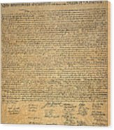 Declaration Of Independence Wood Print