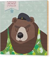 23 February. Bear With Cap. The Vintage Wood Print