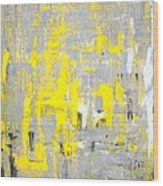 Imagination - Grey And Yellow Abstract Art Painting Wood Print
