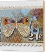 24 Cent Butterfly Stamp Wood Print