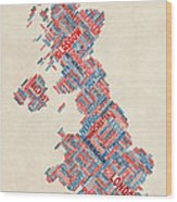 Great Britain Uk City Text Map Wood Print by Michael Tompsett