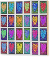 24 Hearts In A Box Wood Print