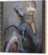 24x36 Neptune Battles The Great Whites Wood Print