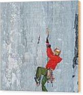 Ice Climbing Wood Print