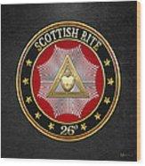 26th Degree - Prince Of Mercy Or Scottish Trinitarian Jewel On Black Leather Wood Print