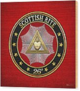26th Degree - Prince Of Mercy Or Scottish Trinitarian Jewel On Red Leather Wood Print