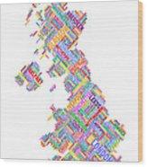 Great Britain Uk City Text Map Wood Print by Michael Tompsett
