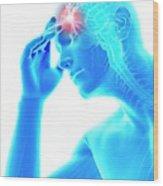 Human Headache Wood Print