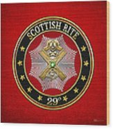 29th Degree - Scottish Knight Of Saint Andrew Jewel On Red Leather Wood Print