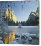2m6538-yosemite Valley In Winter Wood Print