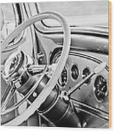 1933 Pontiac Steering Wheel -0463bw Wood Print