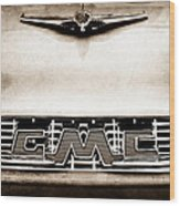 1956 Gmc 100 Deluxe Edition Pickup Truck Hood Ornament - Grille Emblem Wood Print