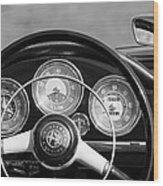 1961 Alfa Romeo Giulietta Spider Steering Wheel Emblem -1185bw Wood Print