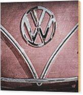 1964 Volkswagen Vw Double Cab Emblem Wood Print
