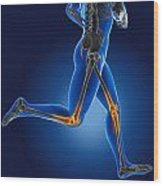 3d Running Medical Man Wood Print by Kirsty Pargeter