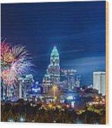 4th Of July Firework Over Charlotte Skyline Wood Print by Alex Grichenko